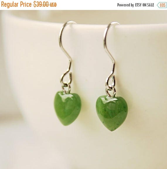 ON SALE Green Jade Heart Earrings - Sterling Silver - Little Hearts