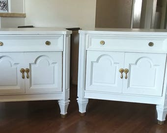 SoLD! Pair of White French Regency End Tables, Nightstands