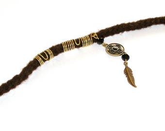 Dreadlock Jewelry - Antique Gold Feather Loc Jewel and Coordinating Slide