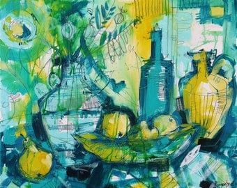 Still Life Painting   Fruit Bowl Arrangement   Original Canvas Art   Signed Certificate Of Authenticity   Contemporary Abstract Artist