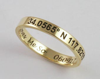 Solid Gold Personalized Engraved Stacking Ring - 3mm x 1.2mm - 14k or 18k  - Custom Handwriting Coordinates
