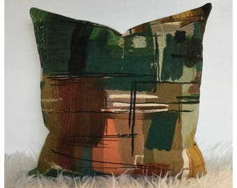 Vintage 50s Sanderson Stones Of Bath John Piper Cotton Fabric Cushion Cover / Mid Century Modern Pillow Cover