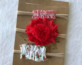 Nylon HEADBAND SET of three / Newborn Baby Girl Gift/ summer photo prop/ Toddler Set/ red  floral, red rose, Strawberry Picking outfit