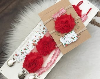 Pacifier Clip/ nylon baby headband / Newborn Baby Girl Gift/ summer photo prop/ Toddler Set/ red  floral, red rose, Strawberry Picking