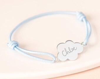 Bracelet enfant personnalisé charm Nuage argent - Bijoux Merci Maman pour bébé, enfant, anniversaire, amitié