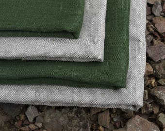 Linen Kitchen Towels Set of 4 Organic Linen Natural Grey and Green