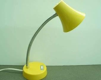 Vintage Yellow Gooseneck Table Lamp Metal Shade Metal Desk Lamp Modern Lamp