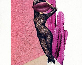 """Untitled Collage (Wild Wild Pink West) 8""""x10"""" Collage PRINT"""