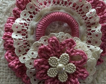 Country chic pink ruffled wreath ornament