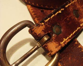 Vintage Distressed Leather Tan Brown Leather Belt