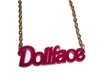 Dollface Necklace, Hot Pink Laser Acrylic Girly Pendant