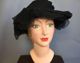 Edwardian mourning hat