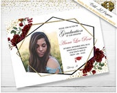 Graduation Invitation Template Graduation Announcement High School Graduate College Graduate Merlot flowers Boho Geometric Gold Photo invite