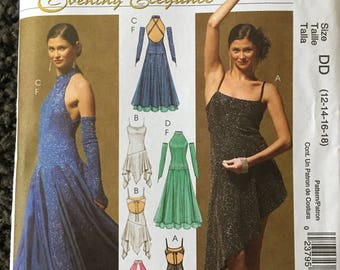 McCall's M5136 Dance Dress w/Attached Bodysuit & Fingerless Gloves Sewing Pattern Size 12 14 16 18