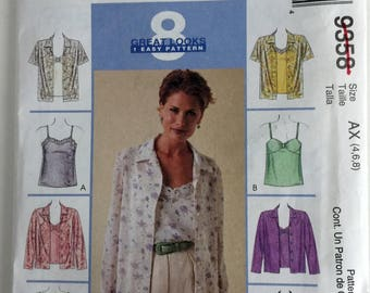 Misses Womens Shirt and Camisole Sewing Pattern Uncut FF McCalls 9358  s 4 6 8