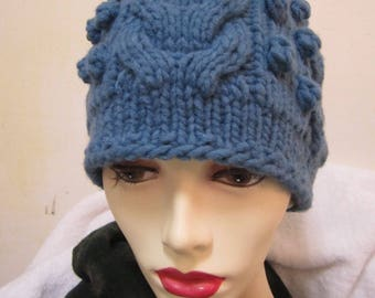 Hand knit hat in blue  merino wool /nylon blend - size S