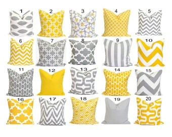"PILLOW SALE.GRAY. Yellow. 20"" Pillows.Decorative Pillows.Pillow Covers.Popular Throw.Housewares.Yellow.Gray Pillows.Cushions Pillows.Grey.Cm"