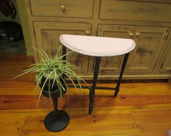 Pink/Black Antique Half Moon Table, Farmhouse Table, French Farmhouse, Retro