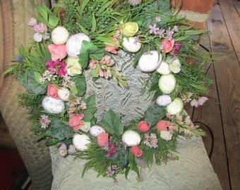 EasterWreath, Easter Egg Wreath, Door Wreath, Flowered Wreath, Plastic Wreath