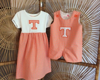 TENNESSEE  SIBLING SET...tank dress and jon jon in orange houndstooth with the power T appliqed...be ready for game day or any day!