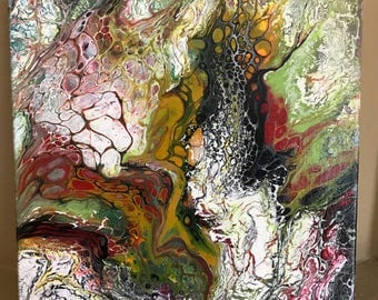 Abstract Modern Painting with black red gold green white Free Shipping in USA
