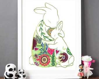 Rabbit Hugs Print - Mother's Day Gift - Helena Tyce Designs