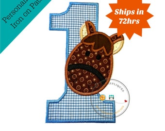 Brown Horse, barn yard animal, birthday number one, farm animal, blue, white, fabric,applique, iron on patch, personalizable, ready to ship