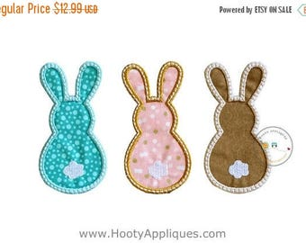 ON SALE NOW Bunny Trio Easter iron on patches for kids clothing, machine embroidered iron on fabric Easter applique for boys and girls, read