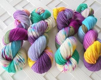 Indie-Dyed DK Yarn, BOUQUET Hand-Painted, Alpaca Yarn, Silk Yarn, Speckled Yarn, Handdyed Yarn, Soft Yarn, Colorful Yarn, Merino Yarn,