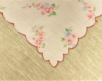 Pink Blue Floral Hankie - Vintage Flower Scalloped Edge Handkerchief