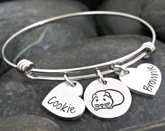 Guinea Pig Bracelet - Guinea Pig Jewelry - I Love Guinea Pigs - Guinea Pig Lover - Popcorn - Personalized Bracelet - Adjustable Bangle