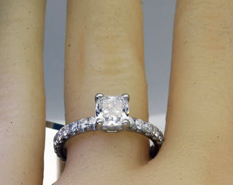 1.80ctw Natural Cushion Pave Diamond Engagement Ring - GIA Certified