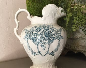 Antique Ironstone Pitcher English Ironstone Blue and White Transferware Pitcher Victorian Ironstone Pitcher Farmhouse Kitchen