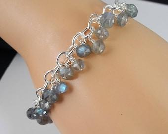Amazing Labradorite Bracelet, Sterling Silver Link Bracelet, High Quality Labradorite, Blue Labradorite,  Spectrolite, Mystical Moon Designs