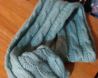 Mens Hand knitted pale green cable scarf