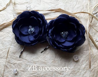 Navy blue bridal hair flowers, Weddings accessories, bridesmaid dress sash brooch grip clip pin, navy shoe clips, Something blue rhinestones