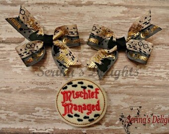 Mischief Managed! Harry Potter Inspired Hair Clip Set - Ready To Ship! - HP Accessories - Muggle Hair Accessories! - Hogwarts Bows