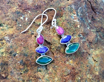 Natural . Ruby . Sapphire . Emerald .  Sterling Silver . Rainbow . Earrings
