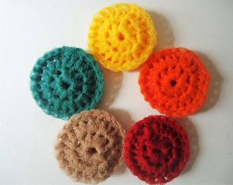 Pot Scrubbers Scrubbies Nylon Net Double Layer Set of 5 Colors Handmade Crochet