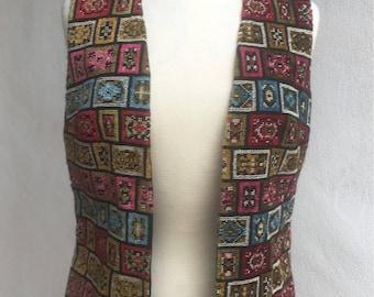 Vintage funky carpet fabric vest lined sz S/M