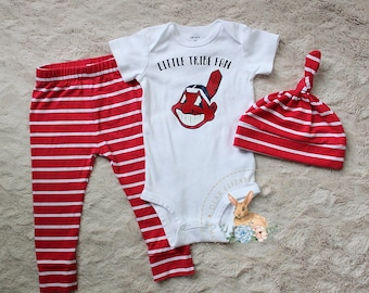 Cleveland Indians Outfit, Little Tribe Fan, Baby Cleveland Indians Outfit,