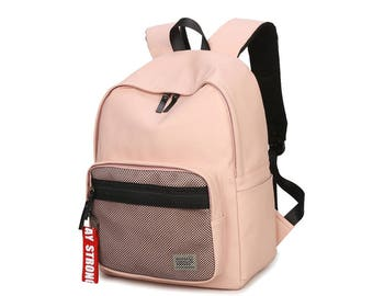 Basic Synthetic Leather Backpack with mesh pocket (Pink)