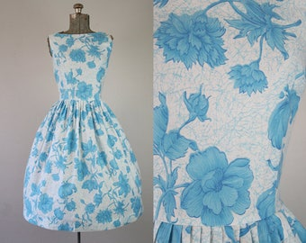 1950's Blue and White Floral Print Cotton Sun Dress / Size Small Medium