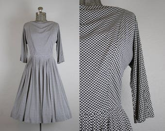 1950's Black and White Gingham R&K Originals Day Dress / Size Medium
