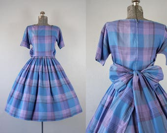1950's Blue and Purple Plaid Dress with Bow / Size Small