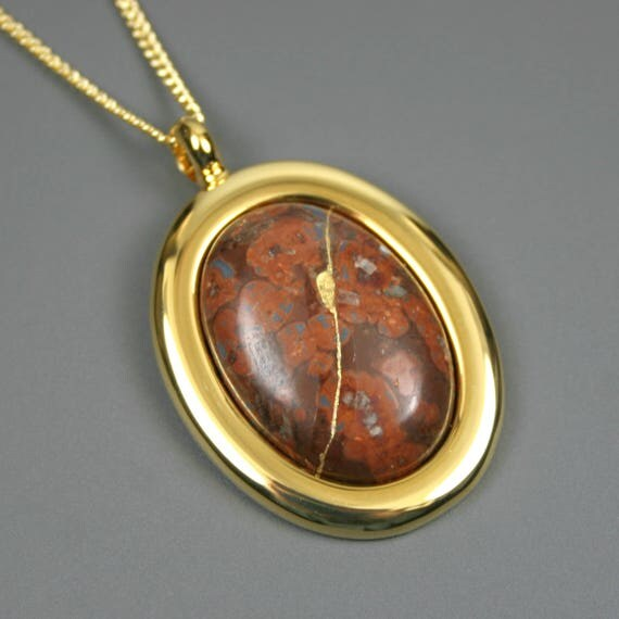Kintsugi (kintsukuroi) leopardskin jasper stone cabochon with gold repair in a gold plated setting on gold chain - OOAK