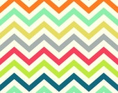 Chevron Fabric - Birch Organic Cotton Fabric - Just for fun Poplin - Skinny Chev Multi - Zig Zag Print - rainbow fabric