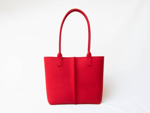 Wool Felt TOTE BAG / red tote bag / womens bag / felt shoulder bag / carry all bag / red bag / made in Italy