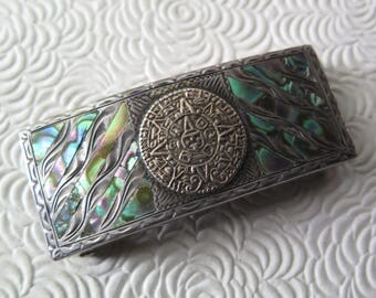 """Mexican Aztec Buckle Abalone Sterling Marked Maker ALC 925 Hecho en Mexico Guadalajara Aztec Calendar Mid Century Mother of Pearl 1"""" Belt"""