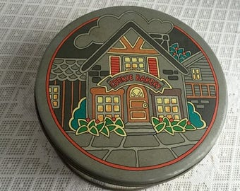 CIJ Metal Container / Vintage Cookie Bakery Cookie Tin by Steeltin / Christmas Decor / Kitchen Storage